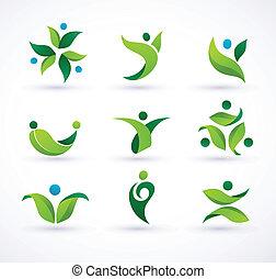 Los iconos de la ecología verde del vector
