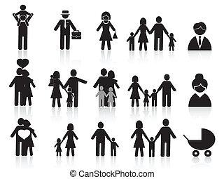 Los iconos de la familia negra y feliz