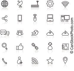 Los iconos de la línea de red reflejan el blanco
