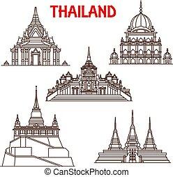 Los iconos de la línea de vectores de Tailandia Bangkok