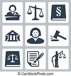 Los iconos de la ley y la justicia establecidos
