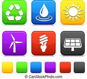 Los iconos de la naturaleza en los botones cuadrados de Internet