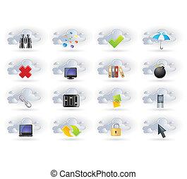 Los iconos de la red de nubes están listos