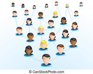 Los iconos de la red de vigilancia de multitudes