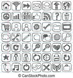 Los iconos de la red indican un juego de garabatos