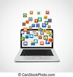 Los iconos de la red social nublan con portátil.
