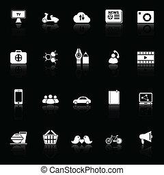 Los iconos de la red social reflejan el fondo negro