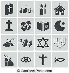 Los iconos de la religión negra del vector