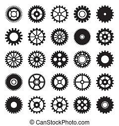 Los iconos de la rueda de engranaje marcan 1