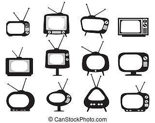 Los iconos de la televisión retro negro están listos