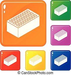 Los iconos de ladrillo marcan el color vector