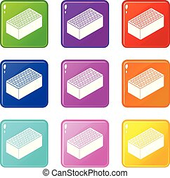 Los iconos de ladrillo pusieron una colección de 9 colores