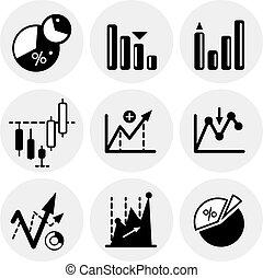 Los iconos de las estadísticas negras del vector