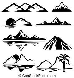 Los iconos de las montañas