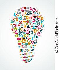 Los iconos de las redes sociales aislaron el archivo de la bombilla EPS10.
