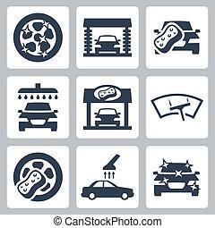 Los iconos de lavado de autos Vector