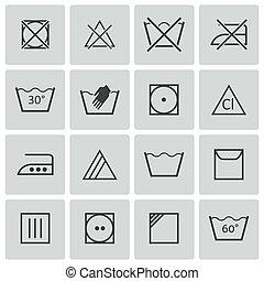 Los iconos de lavado negro Vector