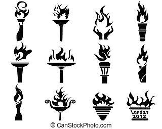 Los iconos de llamas negras incendiados