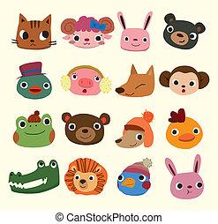Los iconos de los animales de cartón