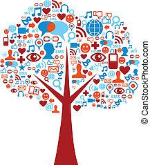 Los iconos de los medios sociales establecen la composición de los árboles