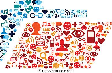 Los iconos de los medios sociales establecen la composición