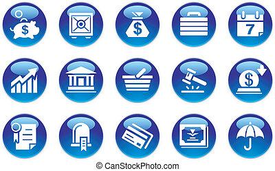 Los iconos de los negocios y los bancos