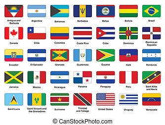 Los iconos de los países americanos