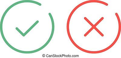 Los iconos de marca de línea delgada. Marcas de garrapata verde y marcas rojas marca iconos de línea plana. Ilustración de vectores