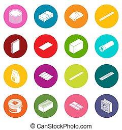 Los iconos de materiales de construcción ponen círculos coloridos