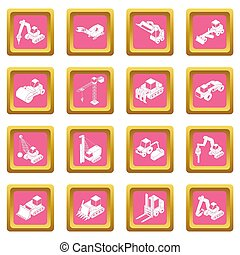 Los iconos de materiales de construcción son cuadrados rosas