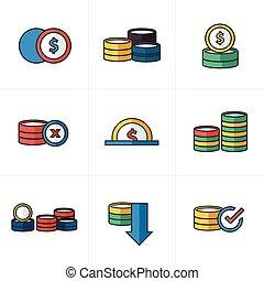 Los iconos de monedas marcan el estilo de dibujos animados