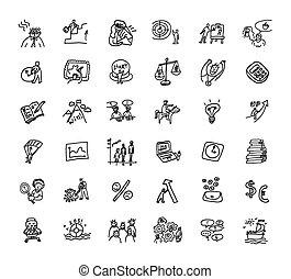 Los iconos de negocios de Doodles se ponen en blanco y negro
