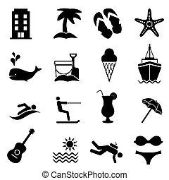 Los iconos de playa y verano