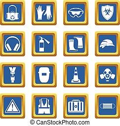Los iconos de seguridad son azules