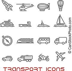 Los iconos de transporte de línea finas