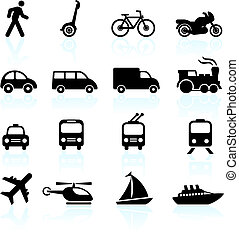 Los iconos de transporte diseñan elementos