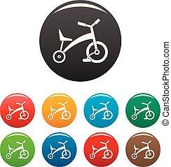 Los iconos de triciclo de los niños ponen color