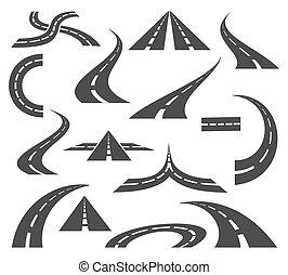 Los iconos de Vector Road. Autopistas y carreteras señalan mapas de viaje de viaje. Movimientos aislados en fondo blanco