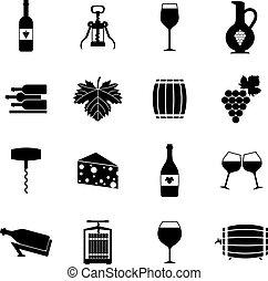 Los iconos de vino se ponen negros