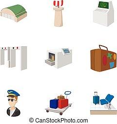 Los iconos del aeropuerto, estilo de dibujos animados