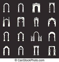 Los iconos del arco marcan el vector gris