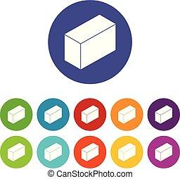Los iconos del bloque de cemento marcan color vector