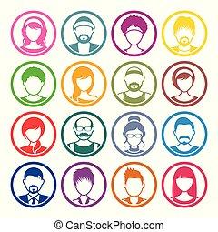Los iconos del círculo Avatar son caras masculinas y femeninas