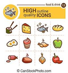 Los iconos del color de la comida