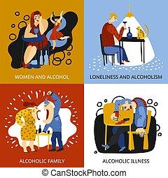 Los iconos del concepto de adicción al alcohol