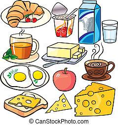Los iconos del desayuno listos