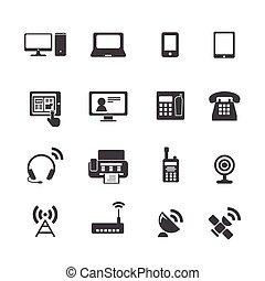 Los iconos del dispositivo de comunicación