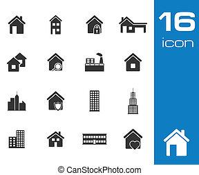 Los iconos del edificio negro vector fijados en antecedentes blancos