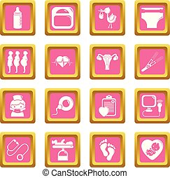 Los iconos del embarazo marcan vector cuadrado rosa