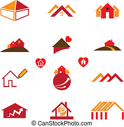 Los iconos del logotipo de la casa y la oficina de bienes raíces